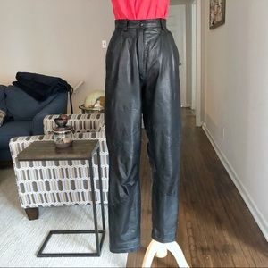 Vintage Pleated High Rise Black Leather Trousers